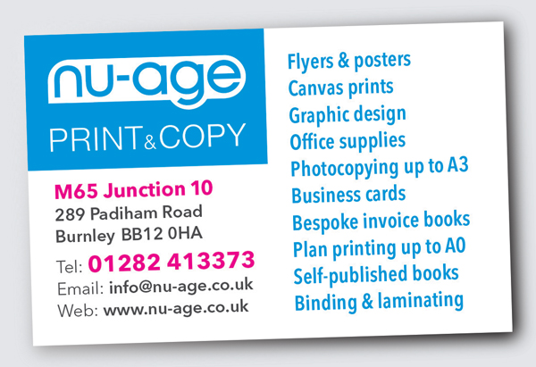 Business cards printing nu age print copy burnley business card example business card example reheart Gallery